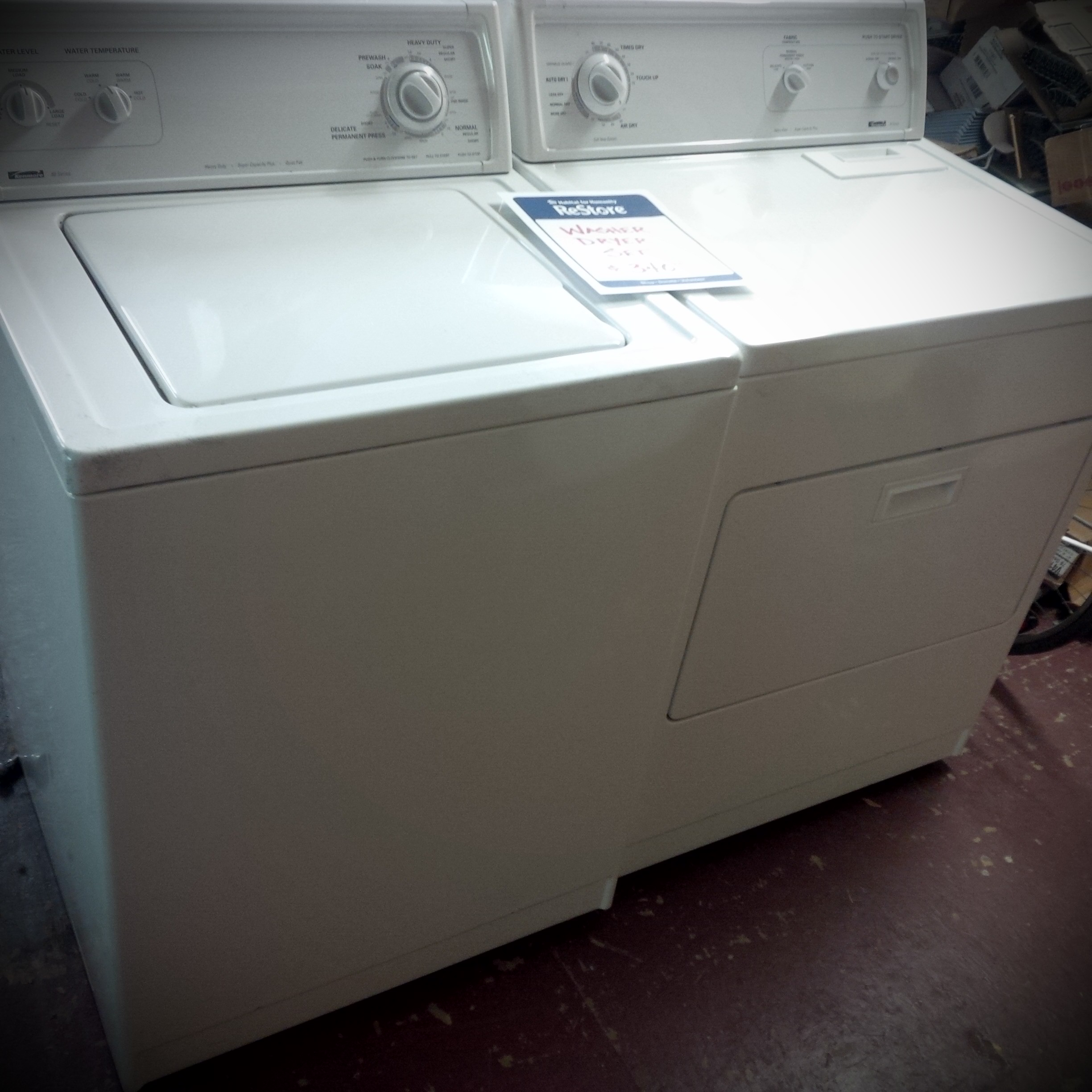 white washing machine and dryer